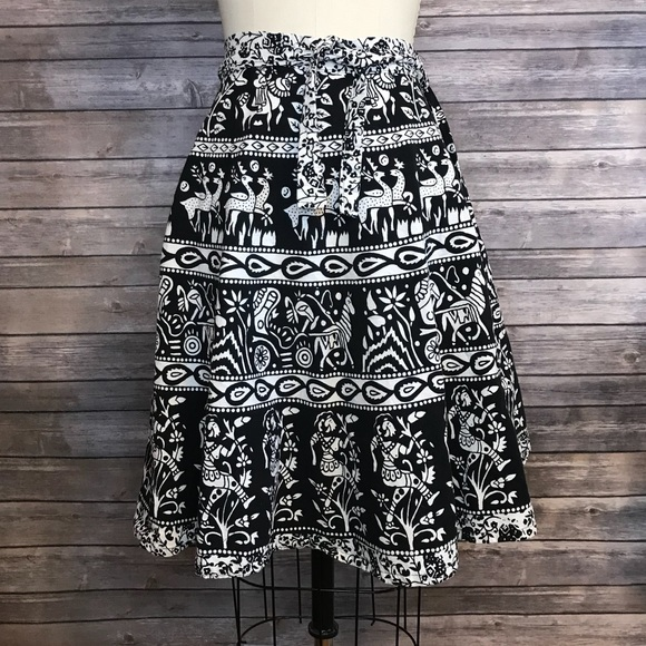 286d419351d7ce Vintage Skirts | 5 For 25 India Block Print Wrap Skirt Black Animal ...